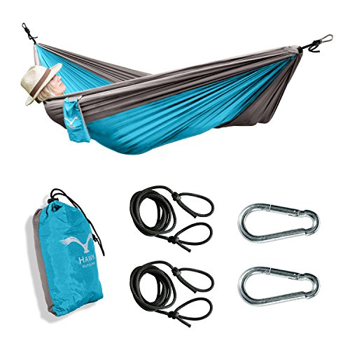 HAWK Outdoor Ultra-light Reise-Hängematte aus Fallschirm-Seide 200kg Traglast Set mit Befestigung - 2 Karabiner und 2 Seile - Reise, Camping, Garten, Trekking, Strand, Travel-Hammock (türkis-grau)
