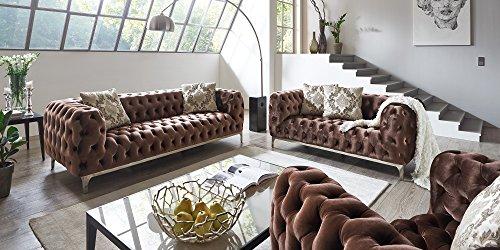 Sofagarnitur 3-2-1 braun Chesterfield Ellon Samtstoff Knöpfung Modern Landhausstil