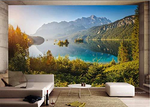 MYLOOO Tapeten Deutschland Zugspitze Seelandschaft Tapete-Moderne Wanddeko-Design Tapete-Wandtapete-Wand Dekoration