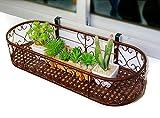 JAZS® Blumen-Racks, Eisen oval europäischen Stil Balkon Fenster Hängende Blumentöpfe Balkon Geländer Hängende Fensterbank Wand hängende Blume Rack Umweltschutz raffiniert ( Farbe : Bronze , größe : 60*25cm )
