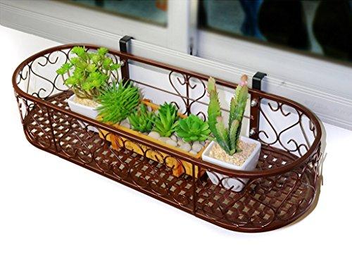 JAZS® Porte-fleurs, fenêtre ovale de balcon de style européen Balcon Pots de fleurs suspendues Balustrade de balcon Fenêtre suspendue Porte-fleurs suspendue murale protection de l'environnement raffinée ( Couleur : Bronze , taille : 60*20cm )