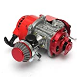 Big Bore 6 Tuning Motor Pocketbike Motor Dirtbike Rot + 15 / 19 mm Vergaser Sport + Tuning Luftfilter Dirtbike Motor