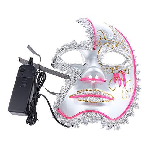Baoblaze LED Venezianische Maske Beleuchtung Masquerade Maske Cosplay Kostüm Zubehör - ()