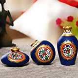 ExclusiveLane Terracotta Warli Hand-Painted Home Decorative Miniature Small Pots Set (9.4 cm x 9.4 cm x 8.9 cm, Blue, Set of 3)