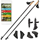 Carbon Ultra Light Nordic Walking Stöcke mit Handgelenkschlaufen 105, 110, 115, 120, 125, 130 cm Superleicht Premium - GRATIS - Nordic Walking App
