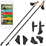 ATTRAC Carbon Ultra Light Nordic Walking Stöcke inkl. Workout mit Handgelenkschlaufe Verschiedene Längen Superleicht Premium GRATIS - Nordic Walking/Fitness App
