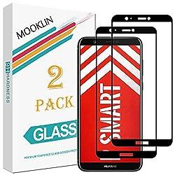 MOOKLIN Huawei P Smart Panzerglas Displayschutzfolie,[2 Stück] [Volle Abdeckung] [Easy Install Kit] [Anti-Kratzen] Vollständige Abdeckung Handy Schutzfolie für Huawei P Smart - Schwarz