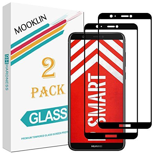 MOOKLIN Huawei P Smart Panzerglas Bildschirmschutzfolie,[2 Stück] [Volle Abdeckung] [Easy Install Kit] [Anti-Kratzen] Vollständige Abdeckung Handy Schutzfolie für Huawei P Smart - Schwarz