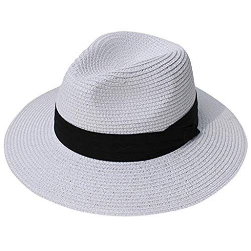Sonnen Hut,Janly Unisex Strand Strohhut Sonnenschirm Panama Trilby Fedora Hut Gangster Cap (Grau)