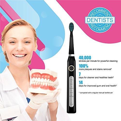 Cepillo de dientes eléctricos Limpiar los dientes como dentista recargable en 4 horas Carga para un uso mínimo de 30 días 5 Modos opcionales y Impermeable con 3 cabezales reemplazab  Crystal Black by Fairywill