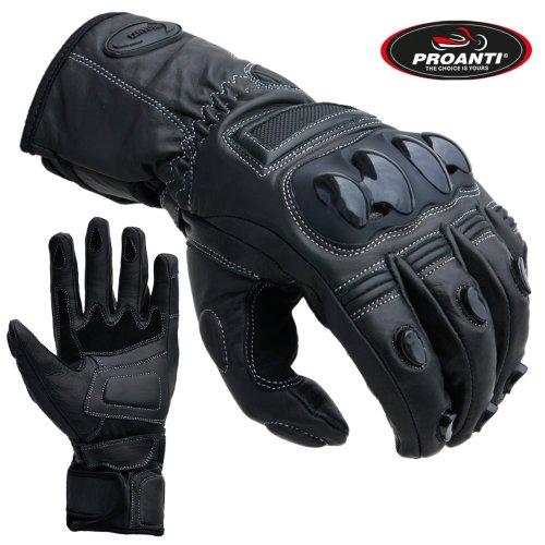 PROANTI Motorradhandschuhe Touring Race Motorrad Leder Handschuhe schwarz