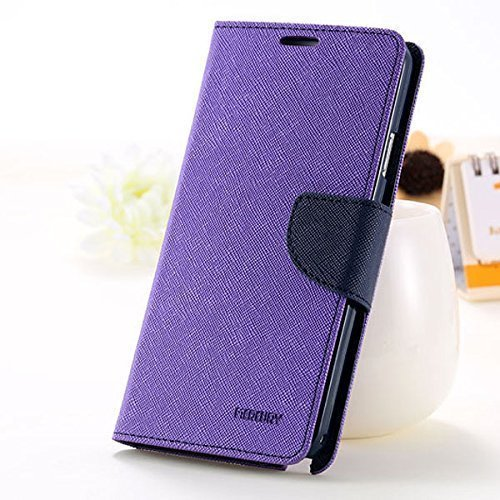 YORA YORA Fancy Wallet Imported Original Premium Quality Fancy Folding Flip Folio with Stand View Faux Leather Mobile Flip Cover and 2 cards slot Stand Case Cover For Xiaomi Redmi Note 4G / Redmi Note Prime (Purple)  available at amazon for Rs.189