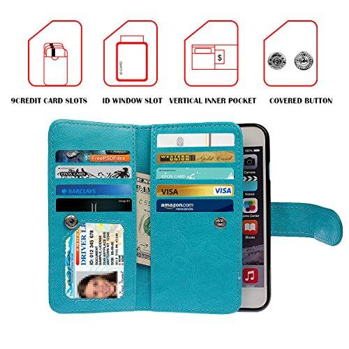 """iPhone 7 plus (5.5"""")Hülle wallet case,xhorizon TM FM8 2 in 1 Premium Leder [Brieftasche Funktion] [Magnetisch Abnehmbar] Wristlet Geldbörse Mehrfache Karten-Schlitze Abdeckung Folio Schutzhüller für i Blau + 9H Tempered Glass Film"""