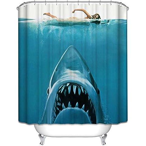 aihometm tela Mildewproof poliéster impermeable baño cortina de baño–cortina de ducha colorido árbol de la vida (150cm x 180cm, 180cm x180cm), tiburón, B:180x180