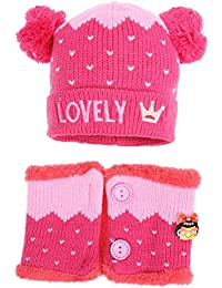 Domybest 2pcs  Set di Cappello Infantile di Lana Mescolata Cappello +  Sciarpa Invernale per Neonati fce2c1f5626e