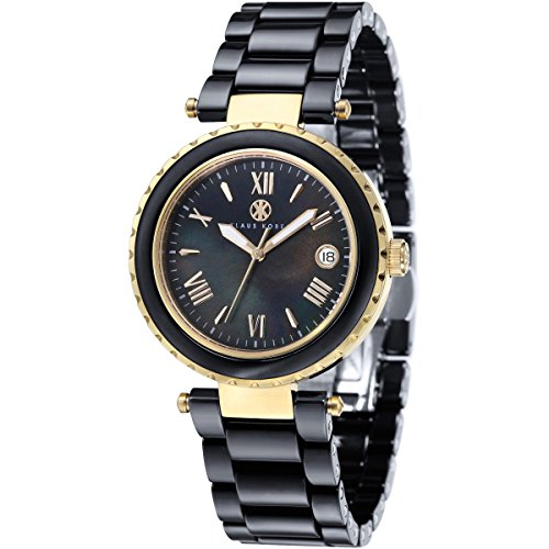 Klaus Kobec KK-10005-05 Ladies Venus Gold and Black Ceramic Watch