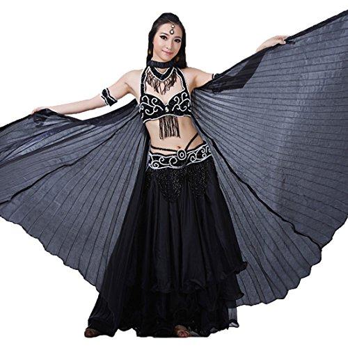 Calcifer® Hohe Qualität echten Seide Ägyptische Ägypten Belly Dance Flügel Isis Flügel Kostüm Geschenk für Big Party Weihnachten, schwarz (Ägyptische Kostüm Perücke)