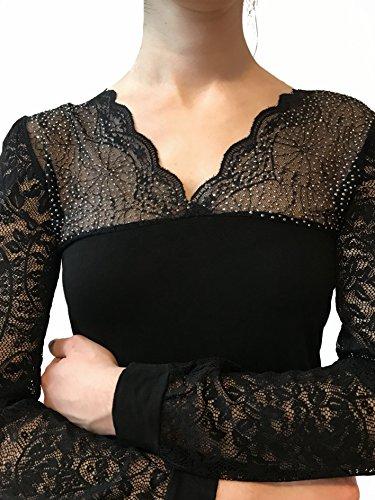 Lady Bella M3089 - Maglia Donna Elegante da Sera in Cotone, Maglietta Scollo a V con Strass e Brillanti, Sottogiacca a Maniche Lunghe in Pizzo Nero