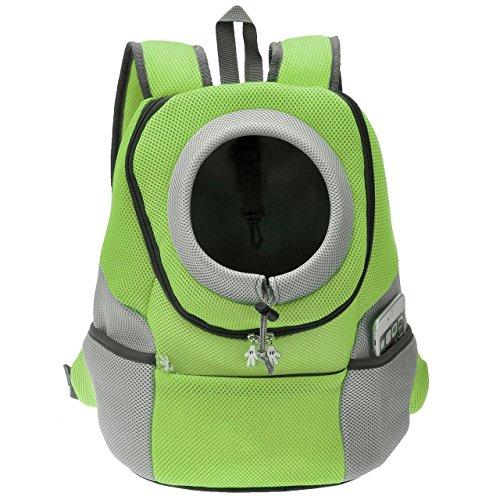 Septven Hohe Qualität Atmungsaktiv Haustier Hund Katze Tasche Rucksack für Hunde Hunderucksack (M, Grün)