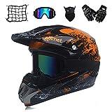 Jackson Wang Motocross Helm Herren orange und schwarz, Motorrad Cross Helm und Sonnenschutzhandschuhe Maske Motorradnetz, umfassender Mountainbike Helm ATV Downhill Sicherheitsschutz,S
