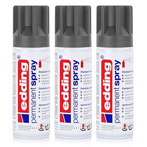 edding Permanent Spray Premium-Acryllack anthrazit 200ml - seidenmatt - Sprühlack deckt sofort, trocknet extrem schnell und hält dauerhaft innen & außen, für Glas, Metall, Holz uvm. (3er Pack)