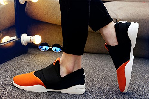 happylove  Mens Breathable Casual Running Sneakers Shoes, Bride de cheville homme garçon Orange