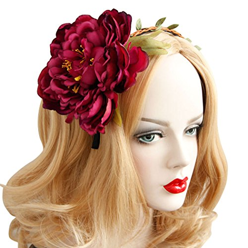 Fascigirl Bandeaux de Fascinator avec la Grande Bande de Cheveux de Fleur pour la Fête de Mariage Rouge