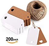 200PCS Kraft Paper Gift Tags Wedding Favour 4x9 cm with Heart and Natural Jute Twine 60m in White Brown Colors for Arts and Craf