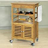 SoBuy® FKW53-N Servierwagen Küchenwagen mit Korb und Flaschenablage Küchenregal Rollwagen Bambus BHT ca: 56x92x36cm - 2