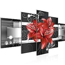Tableau decoration murale Fleurs de Lys 200 x 100 cm - XXL Impression sur Toile Salon Appartment 5 Parties - prêt à accrocher - 008651c
