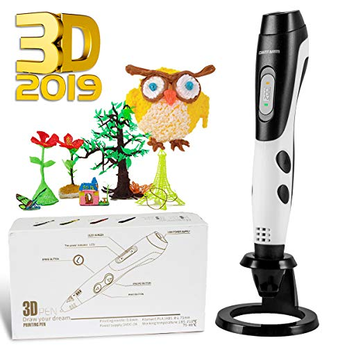 GIANTARM Rotuladores 3D, filamento PLA de 12 Colores, Temperatura Ajustable/Velocidad, Boquilla Intercambiable, Juego de lápices de impresión 3D como Regalo Creativo, Compatible con 1,75 mm ABS/PLA.