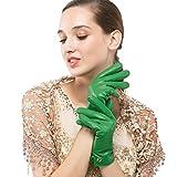 Nappaglo Damen Italienisches Lammfell Leder Handschuhe Touchscreen Winter Warm Langes Fleecefutter Handschuhe (XXL (Umfang der Handfläche:21.6-22.8cm), Grün(Non-Touchscreen))