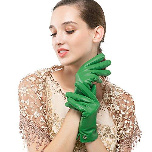 Nappaglo Damen Italienisches Lammfell Leder Handschuhe Touchscreen Winter Warm Langes Fleecefutter Handschuhe (M (Umfang der Handfläche:18.4cm), (Handschuhe Grüne Lange)