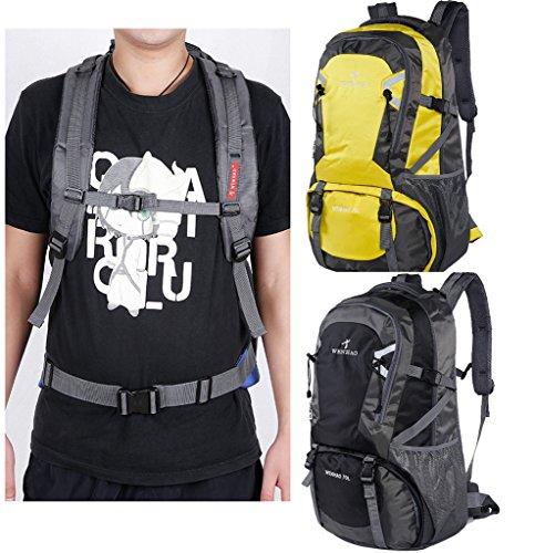 Super Modern Unisex Wanderrucksack Nylon Wasserdicht Camping Rucksack/Rucksack Gepäck Tasche (70L) Schwarz