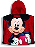 Textil Tarragó Mickey Toalla con Capucha, Algodón, Rojo, 30x30x3 cm