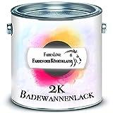 FARBENLÖWE 2K Badewannenbeschichtung MADE IN GERMANY Badewannenlack für Keramik, Emaille, Acryl, Fliesen, Badewanne, Porzellan, Stahl (kein Edelstahl), Fliesen, Kunststoff, GFK hochwertiger Schutz (2,5 kg, Weiß)