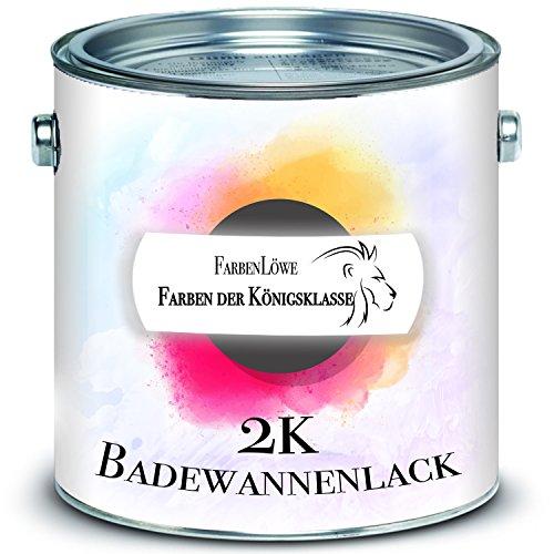 FARBENLÖWE 2K Badewannenbeschichtung MADE IN GERMANY Badewannenlack für Keramik, Emaille, Acryl, Fliesen, Badewanne, Porzellan, Stahl, Fliesen, Kunststoff, GFK hochwertiger Schutz (1 kg, Weiß)