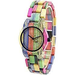 Bewell Reloj de madera de las mujeres hechas a mano Reloj analógico de cuarzo de peso ligero de bambú 105DL (mezcla de color 1)