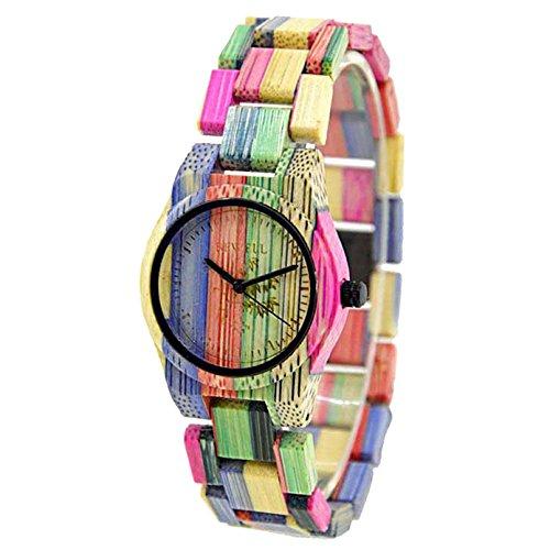 Bewell W105D Paar Modelle Bunte Bambus Holz Armbanduhren Hypoallergen Naturholz Quarz Analog Uhr