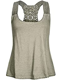Urban Surface Damen Tank Top Shirt LUS-059 mit Häkeleinsatz