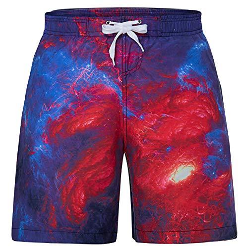 RAISEVERN Jungen Rot Blau Galaxy River 3D Gedruckt Badehose Sommer Strand Surf Board Shorts mit Elastischer Taille Design 12 T -