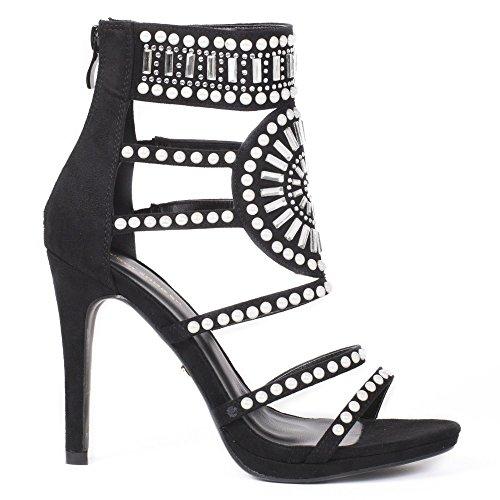 Ideal Shoes Sandales à Talon Ornées de Strass Elana Noir