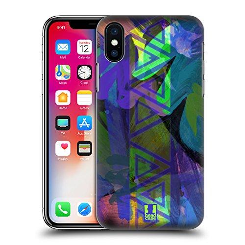 Head Case Designs Triangolo Colonna Neon Pattern Cover Retro Rigida per Apple iPhone X Triangolo Colonna