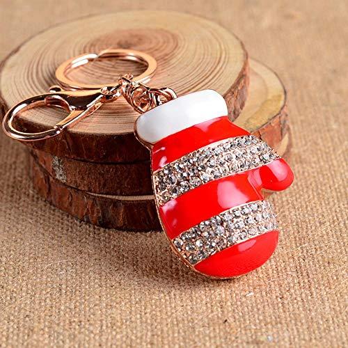 Tcaijing Schlüsselanhänger Weihnachten Strass Handschuh Styling Auto Schlüsselanhänger Tasche Schlüsselanhänger - Strass Damen Handschuh