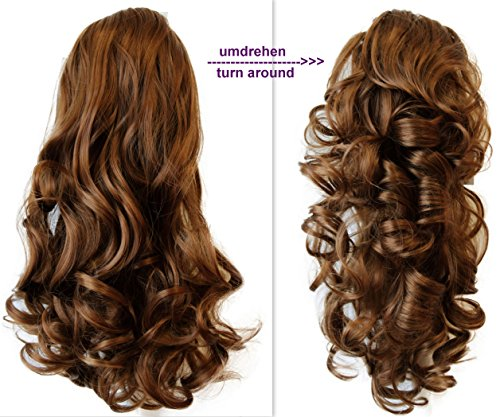 PRETTYSHOP 2 IN 1 Clip sur l'extension postiche Pièce de cheveux ondulé Look naturel fibres résistant à la chaleur Blond foncé # 27 H9-2