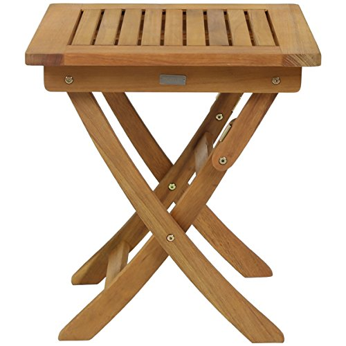 Charles Bentley FSC Eucalyptus Wooden Small Folding Side Table - Compact Traditional Design Foldable