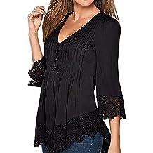 SUNNOW Damen Langarmshirt Neue Mode Vier Jahreszeiten Tops V-Ausschnitt Einfarbig Aufdruck Spitze T-Shirt Locker Faltenbluse