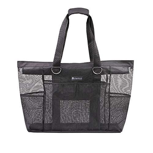 OOSAKU Mesh Strandtaschen Tote Shopping Travel Picknick Lebensmittelgeschäft Lagerung Handtaschen mit übergroßen Taschen Reißverschlüsse (Schwarz, XXL) -
