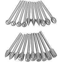 Tolyneil - 20 brocas de corte de diamante de vástago largo para taladrar perforaciones de metal