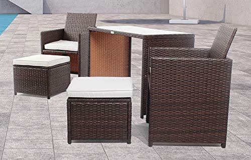 Ambientehome Polyrattan Gartenmöbel braun Rattan Essgruppe Gartenset Lounge Sitzgruppe Sofa Loungemöbel Garnitur inkl. Kissen Olifen 50212,